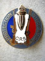 ANCIEN INSIGNE DE COLLECTION POLICE NATIONALE CRS COMPAGNIE REPUBLICAINE PROTECTION INTERVENTION 1995 ETAT EXCELLENT - Police & Gendarmerie