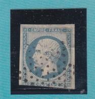 N° 14 Af Bleu Laiteux  ETOILE DE PARIS MUETTE    REF ACDIV - 1853-1860 Napoléon III