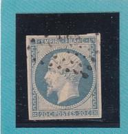 N° 14 Af Bleu Laiteux  LOSANGE PETIT CHIFFRE    REF ACDIV - 1853-1860 Napoléon III