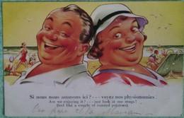 """Carte Humouristique N° 4189 Imprimé En Angleterre : """"Si Nous Nous Amusons Ici? --- Voyez Nos Physionomies"""" - Humour"""