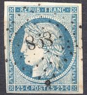 BEAU CERES N° 4f BLEU CLAIR OBLITERE PC 898 COGNAC COTE > 60 € - 1849-1850 Cérès
