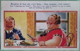 """Carte Humouristique N° 4433 Imprimé En Angleterre : """"Respirer Le Bon Air, C'est Bien - Bien Manger, C'est Mieux !"""" - Humour"""