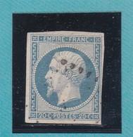 N° 14 Af Bleu Laiteux  LOSANGE PETIT CHIFFRE    REF ACDIV - 1853-1860 Napoleon III