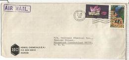 KENYA CC 1980 SELLOS MINERAL AMATISTA AMETHYST PEZ FISH - Minerales