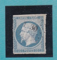 N° 14 Af Bleu Laiteux  LOSANGE PETIT CHIFFRE  XX30   REF ACDIV - 1853-1860 Napoleon III