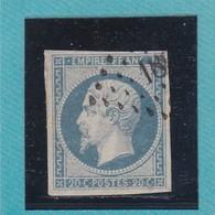 N° 14 Af Bleu Laiteux  LOSANGE PETIT CHIFFRE  18XX   REF ACDIV - 1853-1860 Napoleon III