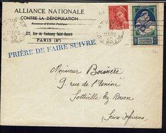 """FR - 1940 """"Alliance Nationale Contre La Dépopulation Paris"""" Enveloppe Pour Sotteville-les-Rouen - B/TB - - 1921-1960: Periodo Moderno"""