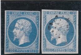 N° 14   LOSANGE PETIT CHIFFRE /  2 NUANCES   REF ACDIV - 1853-1860 Napoléon III