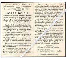 JOZEF DE BIE ° PUTTE 1904 + 1952 / JULIA GYSEMANS - Images Religieuses