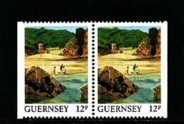 GUERNSEY - 1988  VIEWS  12p  PAIR  EX BOOKLET  IMPERF  SIDES  MINT NH - Guernesey