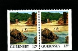 GUERNSEY - 1988  VIEWS  12p  PAIR  EX BOOKLET  IMPERF  3  SIDES  MINT NH - Guernesey
