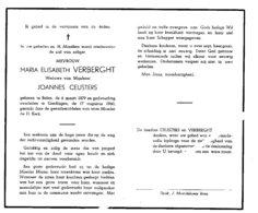 MARIA ELISABETH VERBERGHT ° BALEN 1879 + GERDINGEN BREE 1960 / JOANNES CEUSTERS - Images Religieuses