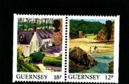 GUERNSEY - 1989  VIEWS  12p +18p  PAIR  EX BOOKLET  IMPERF  SIDES  MINT NH - Guernesey