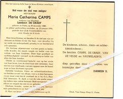 MARIA CATHARINA CAMPS ° PUTTE 1880 + 1956 / LAMBERT DE GRAEF - Images Religieuses