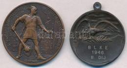 Berán Lajos (1882-1943) ~1930. 'Budapesti (Budai) Torna Egylet 1869 - Botond' Br Emlékérem (40,5mm) + 1946. 'BLKE 1946 I - Monnaies & Billets