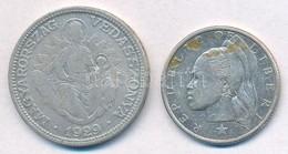 Vegyes: 1929. 2P Ag 'Madonna' + Libéria 1960. 25c Ag T:3,2- - Monnaies & Billets