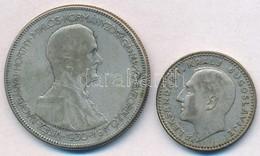 Vegyes: 1930. 5P Ag 'Horthy Jobbra' + Jugoszlávia 1931. 10D Ag 'I. Sándor' T:2-,2 Kis Patina - Monnaies & Billets