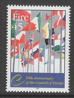 TIMBRE NEUF D'IRLANDE - 50E ANNIVERSAIRE DU CONSEIL DE L'EUROPE N° Y&T 1149 - Institutions Européennes