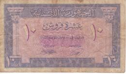 BILLETE DE EL LIBANO DE 10 PIASTRES DEL AÑO 1950 (BANKNOTE) - Líbano