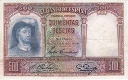 BILLETE DE ESPAÑA DE 500 PTAS DEL AÑO 1931 SIN SERIE CALIDAD  MBC - [ 1] …-1931 : Prime Banconote (Banco De España)