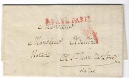 1804. LAC Ecrite à Paris (SEINE) - Tampon P. PAYE Rouge En CÔTE D'OR - PrairialAN 12 (15Juin1804) - Postmark Collection (Covers)