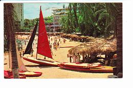 MEXIQUE, ACAPULCO Caleta Beach, Plage, Voilier, Planche à Voile, Paillottes, Ed. Central De Artes Graficas 1970 Environ - Mexique