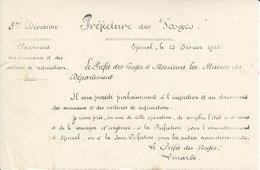 Préfet Des Vosges ,inspection Et Classement Des Animaux Et Voitures De Réquisition ,1915 - Documents