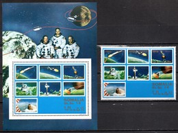 Somalia Block + Blockmarke Mondlandung Apollo 11 **/MNH - Raumfahrt