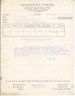 Assurances Citroên , Paris 2è ,avenant De 1935 - Automobile