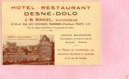 Carte/Note - Hôtel Restaurant DESNE - DOLO - J-B RINCEL Successeur - VANNES - Cartes De Visite