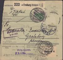 INFLA  DR 150, 5x 176 A (weitere Marken Abgelöst) MiF, Auf Paketkartenabschnitt, Mit Stempel: Freiburg 3.12.1921 - Deutschland