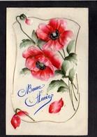 Nouvel An,Voeux,Bonne Année / Fleurs,gaufrée Genre Celluloïd - Cartes Postales