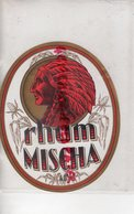 ETIQUETTE RHUM MISCHA- TETE INDIEN COIFFE PLUMES - Rhum