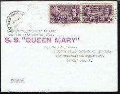 ETATS-UNIS - 1936 - Enveloppe Par Le S.S Queen Mary Vers Le Havre (FR) B/TB - - Etats-Unis