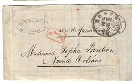 1862. LSC De 1862 - Ecrite à Paris Bureau D - Càd Boston (ETATS UNIS) - Marcophilie (Lettres)
