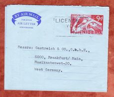 Aerogramme Papageien, Zudruck Independent Stores, Lagos Nach Frankfurt 1970 (61461) - Nigeria (1961-...)