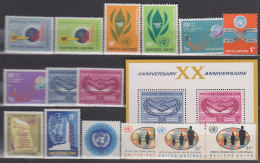 UNO NEW YORK 148-162, Postfrisch **, Jahrgänge 1965 Komplett - New York -  VN Hauptquartier
