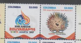 COLOMBIA, 2017, MNH, 28TH BOLIVARIAN GAMES, MASCOT, 2v - Stamps
