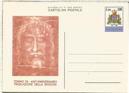 SAN MARINO ENTERO POSTAL  SINDONE RELIGION SABANA SANTA JESUCRISTO - Cristianismo