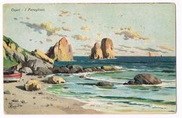 Cartolina - Postcard / Non Viaggiata - Unsent / Pittorica – Capri – I Faraglioni (macchie Di Ruggine Al Retro) - Italia