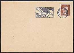 """DR: Postkarte Mit 3 Pf Adolf Hitler Maschinenwerbe-Stpl """"Nahrung Ist Waffe"""" Vom 11.9.43 Karlsruhe -ohne Anschr.+Text - Deutschland"""