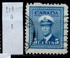 Canada - Kanada 1943-48 Y&T N°211 - Michel N°223 (o) - 5c Marine - 1937-1952 Règne De George VI