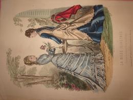 """Gravure Parue Dans """"La Mode Illustrée"""" N°25 De 1876, Toilettes De Mme Delaunay, Tresse, DOCUMENT ORIGINAL - Chromos"""