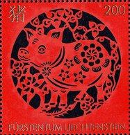 Liechtenstein - 2018 - Chinese Signs Of Zodiac - Year Of The Pig - Mint Stamp With Golden Hot Foil Intaglio - Ungebraucht