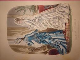 """Gravure Parue Dans """"La Mode Illustrée"""" N°6 De 1876, Toilettes De Mme Fladry, Chapeau De Mme Deloffre, DOCUMENT ORIGINAL - Chromos"""