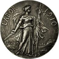 France, Médaille, Art Nouveau, Labor, Progrès-Gloire, 1910, Lemaire, TTB+ - France