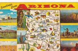 Arizona Greetings With Map - United States