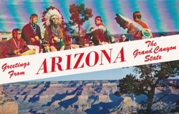 Arizona Greetings From The Grand Canyon State Hopi Indians And Canyon From Rim - Grand Canyon