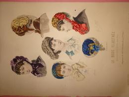 """Gravure Parue Dans """"La Mode Illustrée"""" N°42 De 1880, Chapeaux De Mme Villedieu, DOCUMENT ORIGINAL - Chromos"""