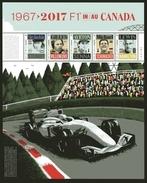 CANADA 2017, CANADA FORMULA 1, GRAND PRIX DU CANADA Sheet Of 5 Stamps: Stewart,Villeneuve, Senna, Shumacher, Halmilton - Feuilles Complètes Et Multiples
